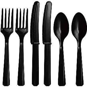 Cutlery: Jet Black Party Assorted Plastic Cutlery (24pc)