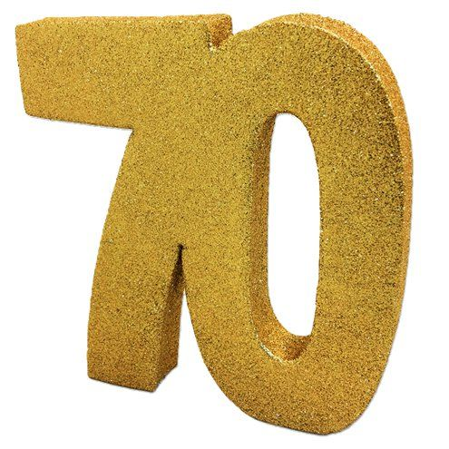 Decoration: 70th Gold Glitter Table Decoration - 20cm