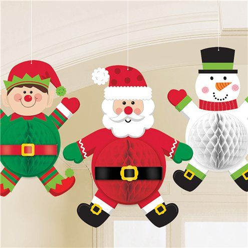 Decoration: Christmas Character Honeycomb Decorations 3pk