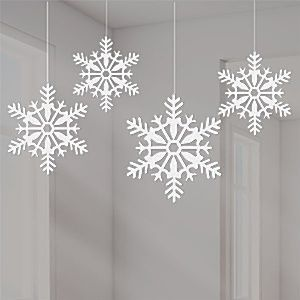 Decoration: Christmas White Glitter Snowflake Hanging Decorations - 10cm x4pk