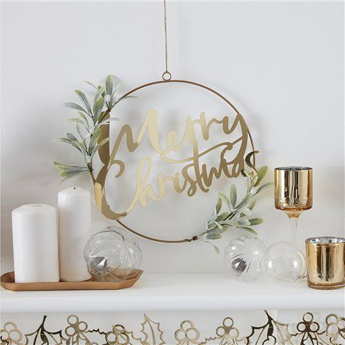 Decoration: Gold Glitter Merry Christmas Hanging Foliage Wreath - 30cm