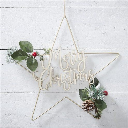 Decoration: Gold Metal Merry Christmas Star Wreath - 36cm