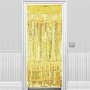 Decoration: Gold Metallic Fringed Door Curtain - 2.4m (each)