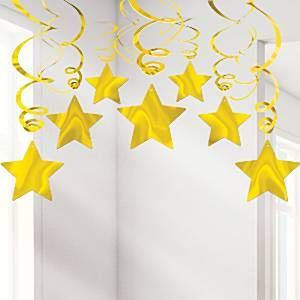 Decoration: Gold Star Hanging Swirls Decoration - 60cm (30pk)