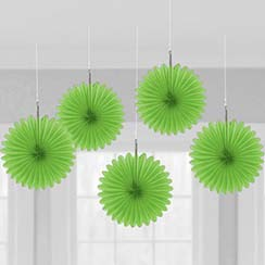 Decoration: Green Hanging Fan Decorations - 15.2cm