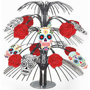 Decoration: Halloween Skull & Rose Centrepiece - 35cm (each)