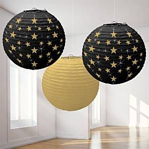 Decoration: Hollywood Lanterns - 24cm Round Paper Lanterns (3pk)