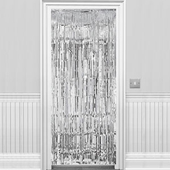 Decoration: Solid Colour Decorations Metallic Door Curtain - Silver - 8ft (each)