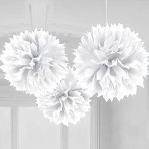Decorations: White Pom Pom Decorations - 40cm x3pk