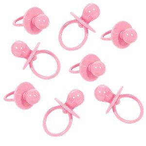 Favours: Baby Shower Large Pink Dummy Charms x8pk
