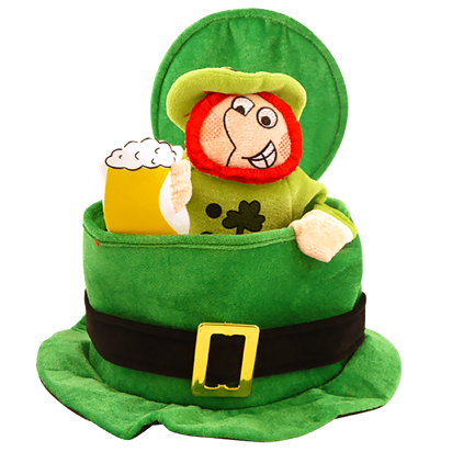 Hat:  St Patrick's Top Hat with Drinking Leprechaun