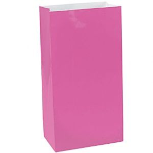 Party Bags: Hot Pink Party Bags - Paper 24cm (12pk)