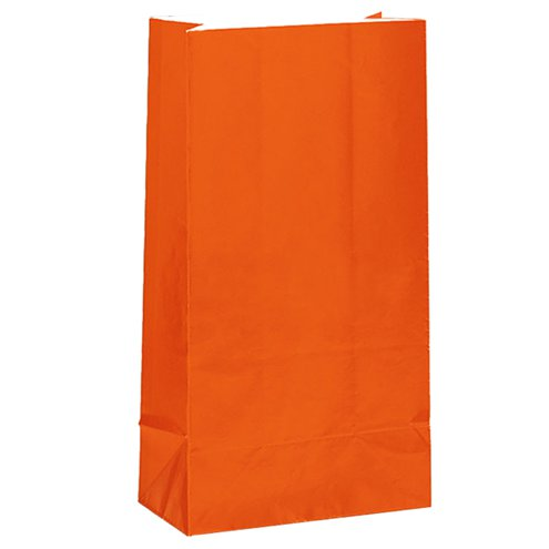 Party Bags: Orange Party Paper bags 25cm (12pk)