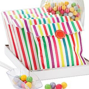 Party Bags: Rainbow Stripe Paper Bags x10pk