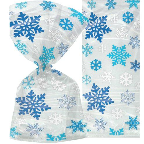 Party Bags: Snowflake Christmas Cello Bags - 30cm x20pk