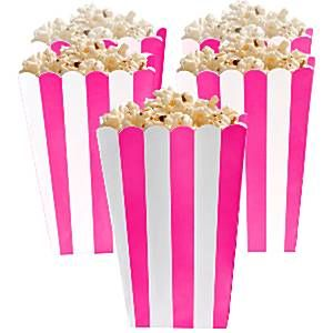 Party Boxes: Candy Buffet Popcorn Boxes - Bright Pink x5pk