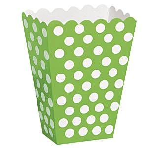 Party Boxes: Decorative Dots Lime Green Treat Boxes (8pk)