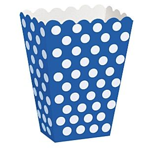 Party Boxes: Decorative Dots Royal Blue Treat Boxes (8pk)