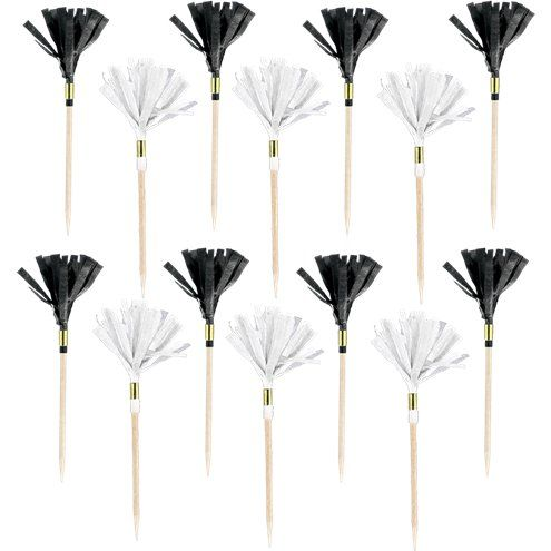 Picks: Black & Gold Fringe Food Pick x24pk