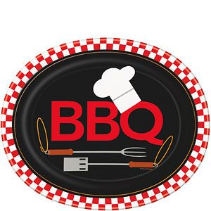 Plates: Picnic Party Supplies Backyard BBQ Oval Plates (8pk)