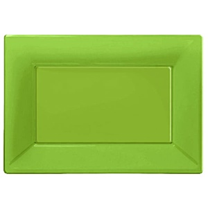 Platter: Catering Supplies Green Plastic Platters (3pk)