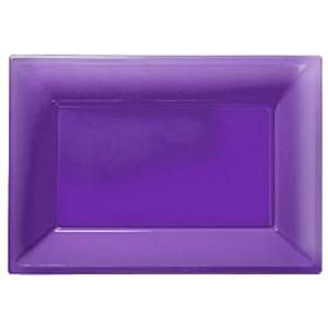 Platter: Catering Supplies Purple Plastic Platters (3pk)