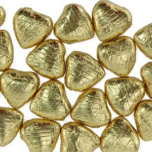 Sweets: Gold  Foil Chocolate Hearts (20pk)