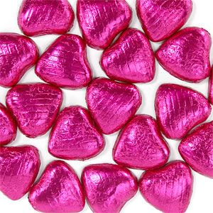 Sweets: Hot Pink Foil Chocolate Hearts (20pk)