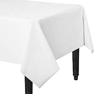 Table Cloth: Frosty White Party Plastic Tablecover (each)