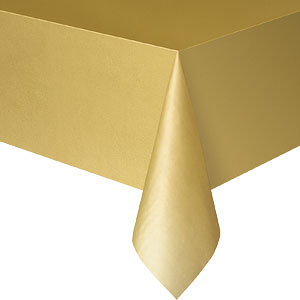 Table Cloth: Gold Party Plastic Tablecover (each)