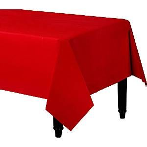 Tablecloth: Red Plastic Tablecover - 1.4m x 2.8m (each)