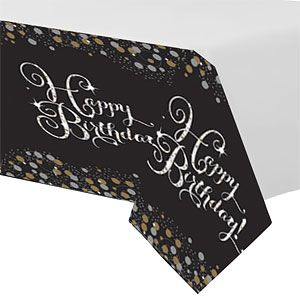 Tablecloth: Sparkling Celebration Happy Birthday Plastic Tablecover (each)