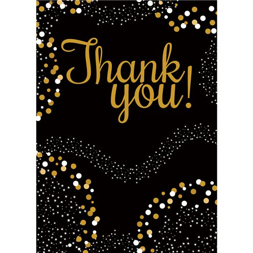 Thank you: Gold Thank You Cards - Small x8pk