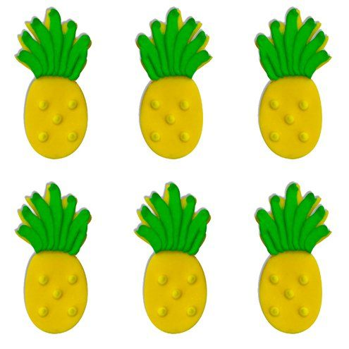 Toppers: Tropical Pineapple Sugar Toppers - Cake Decorations​​​​​​​ x6pk