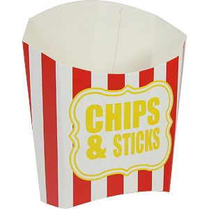 Trays: Chips & Sticks Red Stripe Chip Scoop x10pk